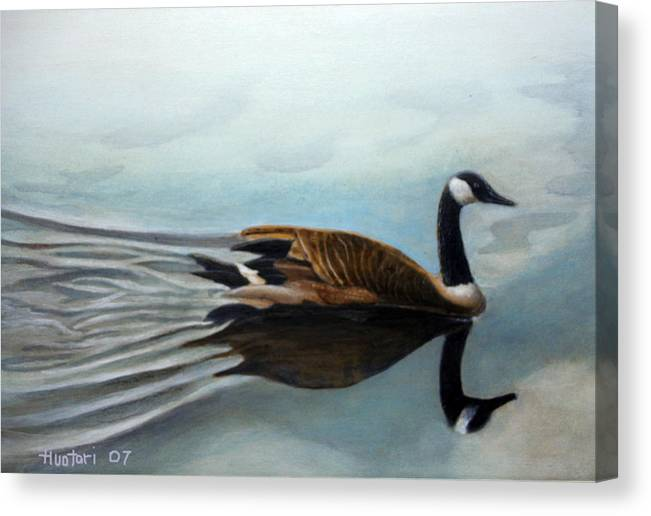 Rick Huotari Canvas Print featuring the painting Canadian on the St. Croix by Rick Huotari