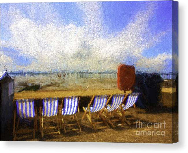 Clouds Canvas Print featuring the photograph Vacant deckchairs by Sheila Smart Fine Art Photography