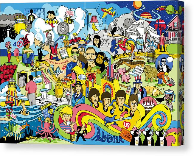 Beatles Canvas Print featuring the digital art 70 illustrated Beatles' song titles by Ron Magnes