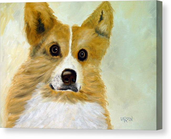 Canvas Print featuring the painting Corgi by Dick Larsen