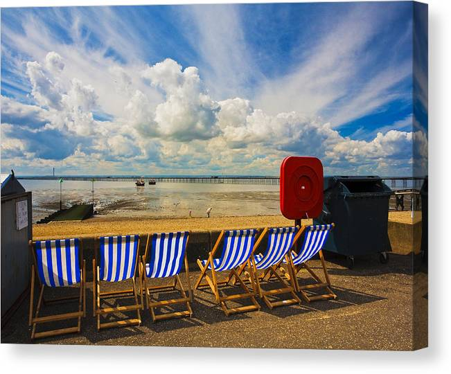 Southend On Sea Canvas Print featuring the photograph Deck chairs at Southend on Sea by Sheila Smart Fine Art Photography