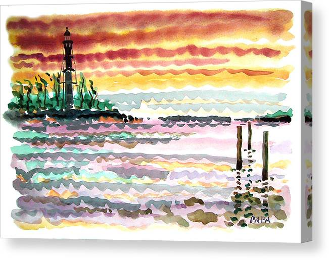 Sunrise Canvas Print featuring the painting Lighthouse Point Sunrise by Ralph Papa