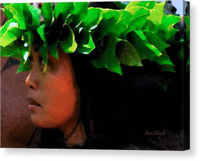 Hula Canvas Print featuring the digital art Molokai Wahine Dancer by James Temple