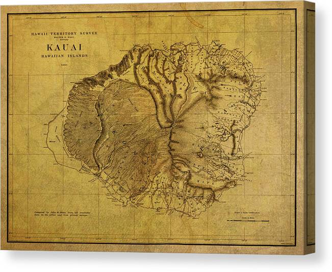 Vintage Map of Kauai Hawaii by Design Turnpike
