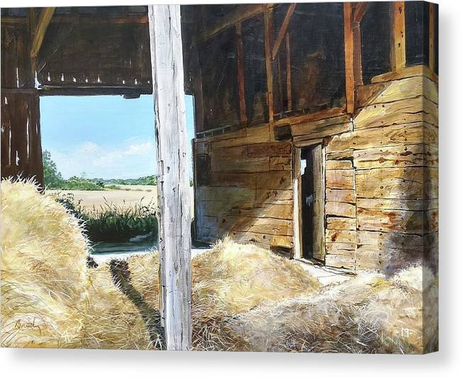 Barn Canvas Print featuring the painting While The Sun Shines by William Brody