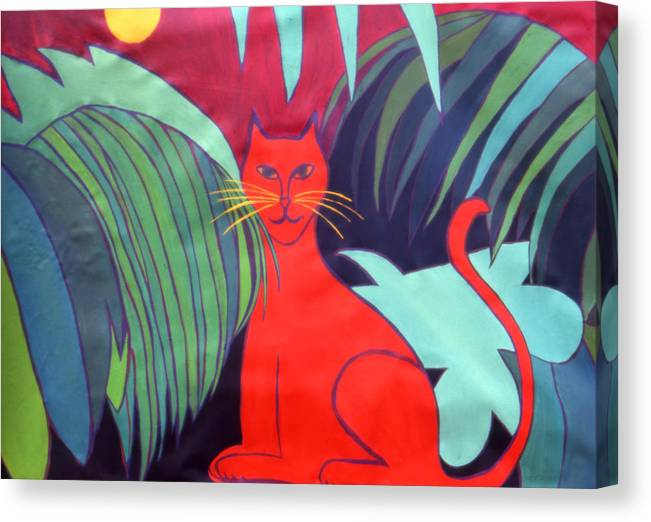 Cat Canvas Print featuring the painting Red Cat by Ingrid Torjesen