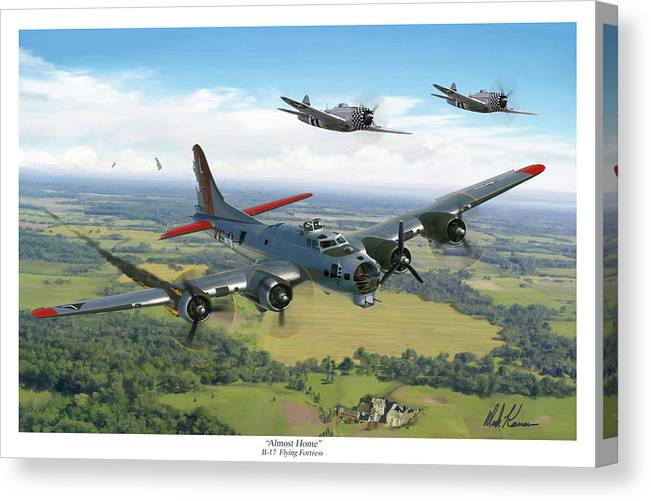 Airplane Canvas Print featuring the painting Almost Home B-17 Flying Fortress by Mark Karvon