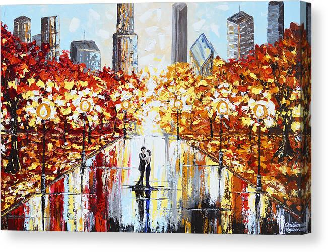 Abstract Canvas Print featuring the painting An Evening in the City by Christine Bell