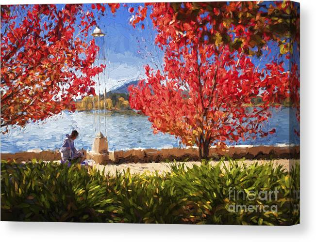 Autumn Canvas Print featuring the photograph Autumn in Canberra by Sheila Smart Fine Art Photography