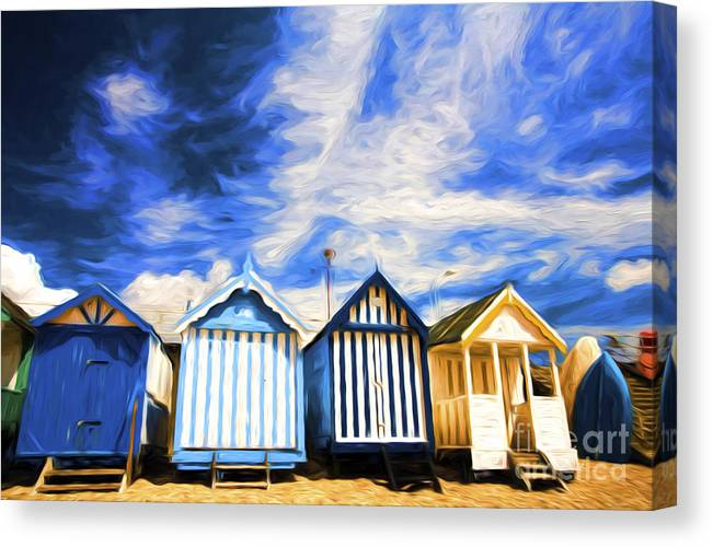 Beach Huts Canvas Print featuring the photograph Beach huts at Southend by Sheila Smart Fine Art Photography