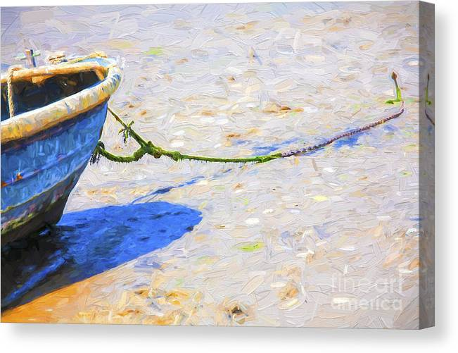 Abstract Canvas Print featuring the photograph Blue boat on mudflat by Sheila Smart Fine Art Photography
