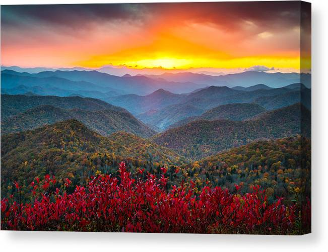 Blue Ridge Parkway Canvas Print featuring the photograph Blue Ridge Parkway Autumn Sunset NC - Rapture by Dave Allen