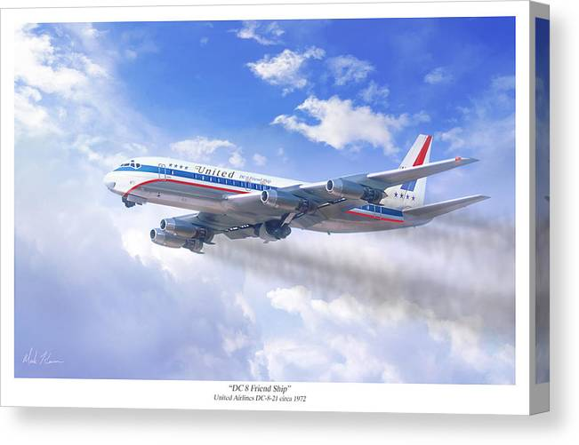 Aviation Art Canvas Print featuring the painting Dc 8 Friend Ship by Mark Karvon