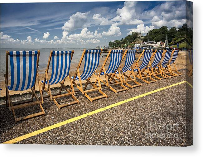 Empty Deckchairs Canvas Print featuring the photograph Deckchairs at Southend by Sheila Smart Fine Art Photography