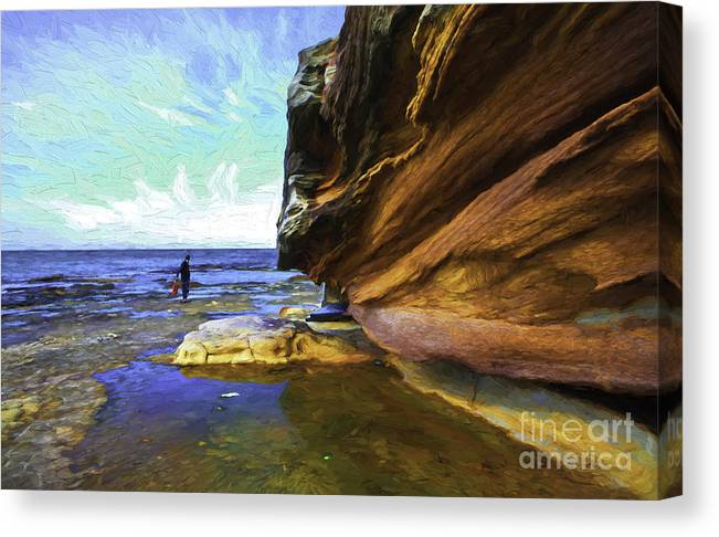 Australia Canvas Print featuring the photograph Dee Why Headland with sandstone cliff by Sheila Smart Fine Art Photography