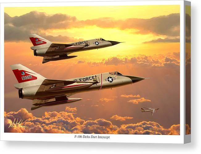 Aviation Canvas Print featuring the painting F-106 Delta dart Intercept by Mark Karvon