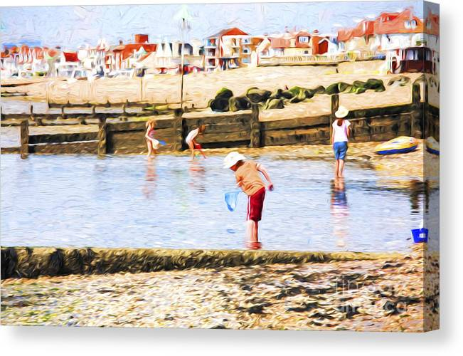 Children Fishing Canvas Print featuring the photograph Fishing at Southend by Sheila Smart Fine Art Photography