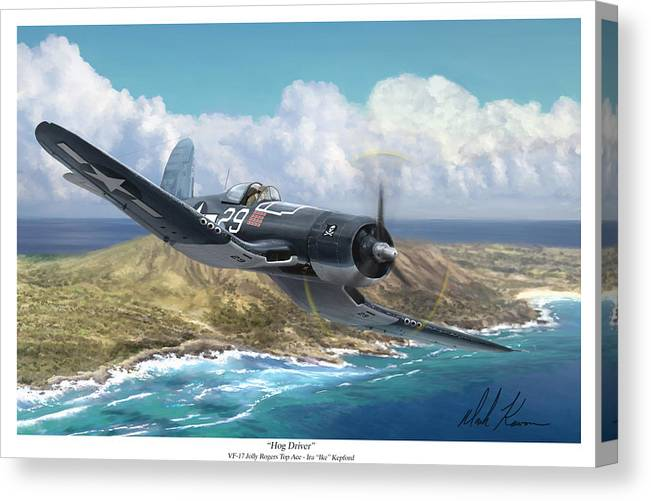 Ike Kepford Canvas Print featuring the painting Hog Driver Vf 17 Jolly Rogers Top Ace Ike Kepford by Mark Karvon