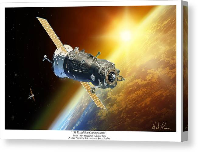 Soyuz Tma Canvas Print featuring the painting ISS Expedition Coming Home by Mark Karvon