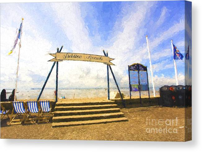 Jubilee Beach Canvas Print featuring the photograph Jubilee Beach Southend On Sea by Sheila Smart Fine Art Photography