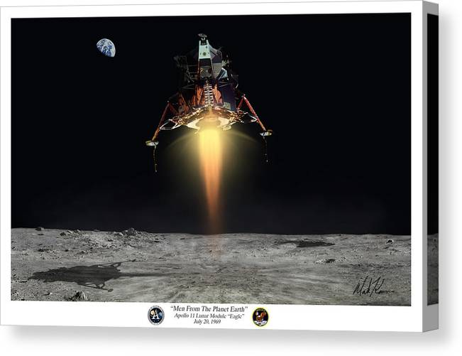 Apollo Canvas Print featuring the painting Men From The Planet Earth by Mark Karvon