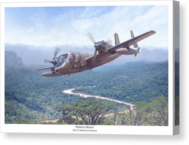 Aviation Canvas Print featuring the painting Mohawk Mission by Mark Karvon