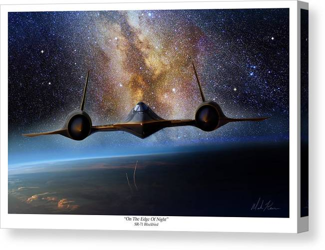 Aviation Canvas Print featuring the painting On The Edge Of Night by Mark Karvon