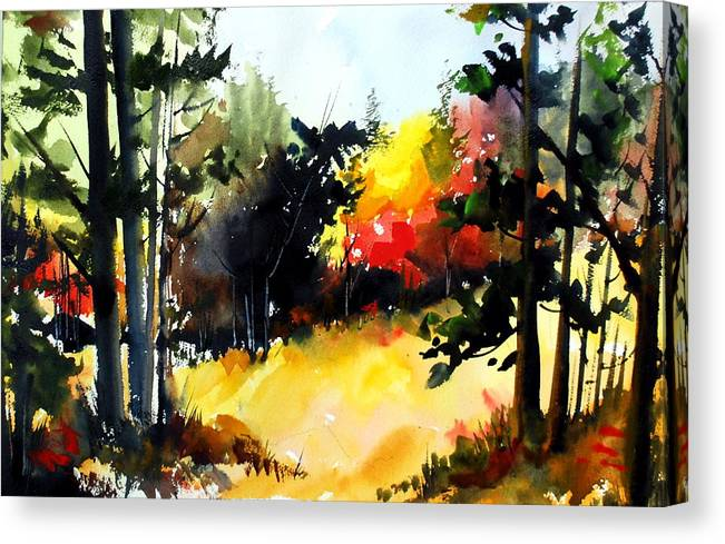 Woods Fall Colours Trees Autumn Meadows Bush Canvas Print featuring the painting The Clearing by Wilfred McOstrich
