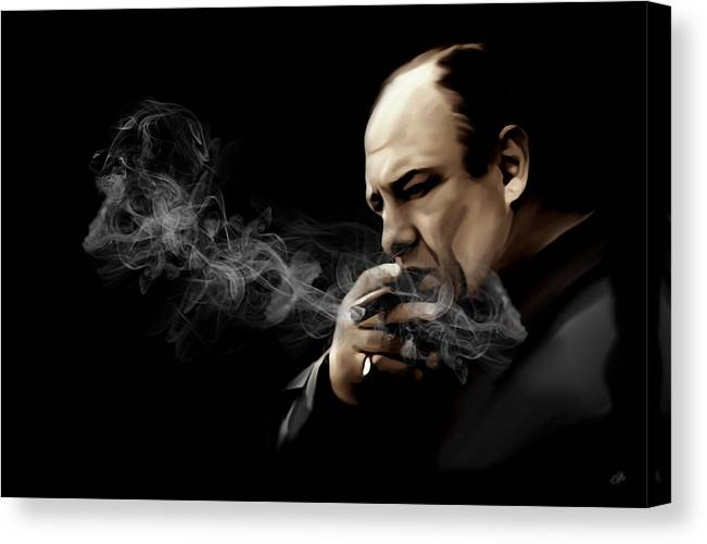Tony Soprano Canvas Print featuring the digital art Tony Soprano by Laurence Adamson