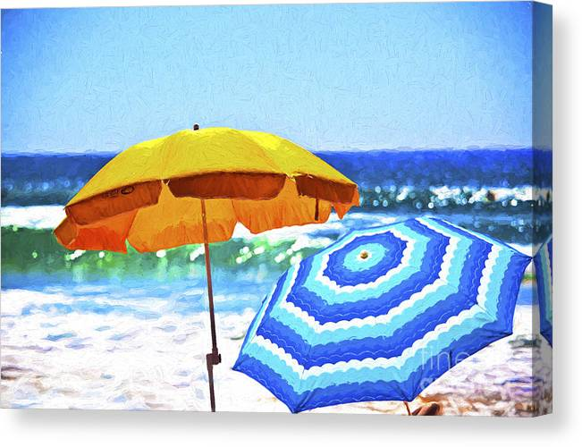 Umbrellas Canvas Print featuring the photograph Umbrellas at the beach by Sheila Smart Fine Art Photography