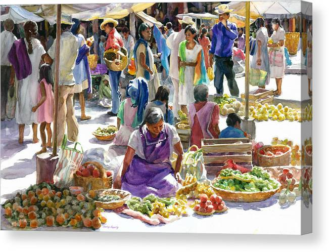 Figures Canvas Print featuring the painting Saturday Market by Carolyn Epperly