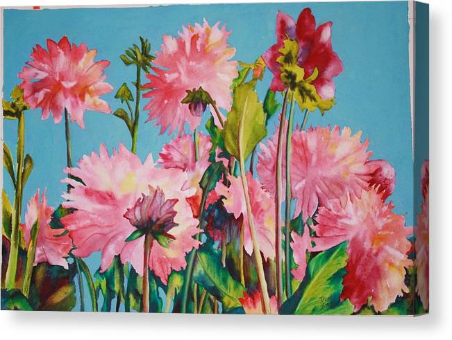 Floral Canvas Print featuring the painting Dahlias Victoria by Diane Ziemski