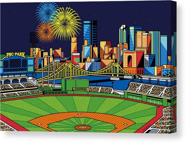 Pnc Park Fireworks Canvas Print Canvas Art By Ron Magnes