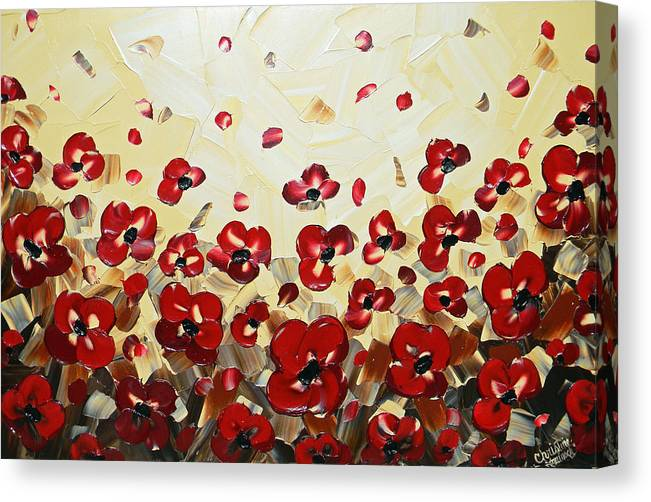 Poppy Canvas Print featuring the painting Red Poppy Dance by Christine Bell