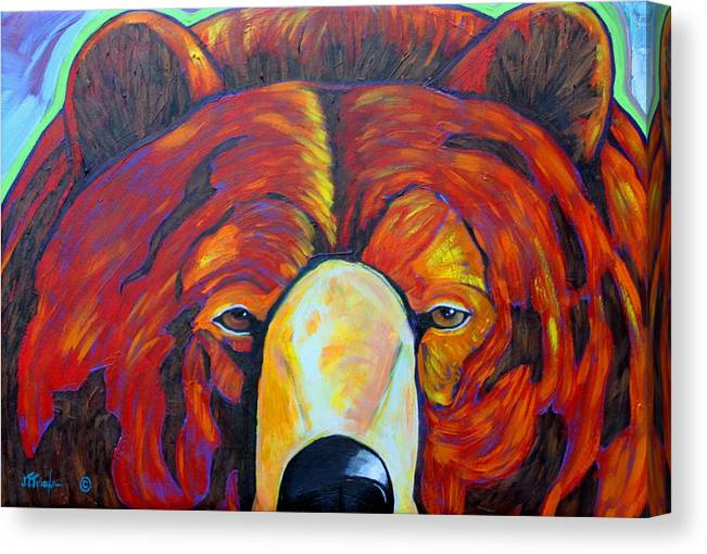 Self Portrait Canvas Print featuring the painting Self Portrait - Grizzly by Joe Triano