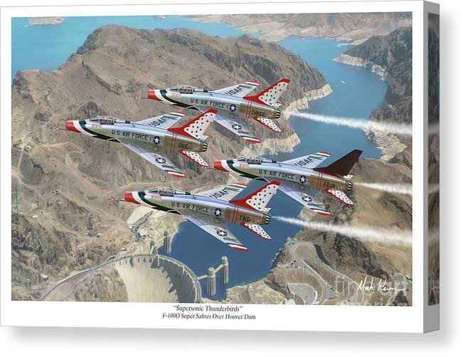 Usaf Canvas Print featuring the painting Supersonic Thunderbirds by Mark Karvon