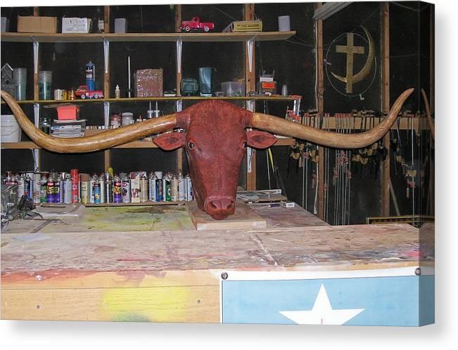 Longhorn Canvas Print featuring the sculpture Texas Monster Longhorn by Michael Pasko