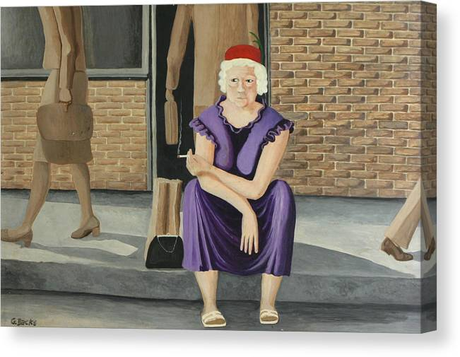 Figurative Canvas Print featuring the painting The Purple Dress by Georgette Backs