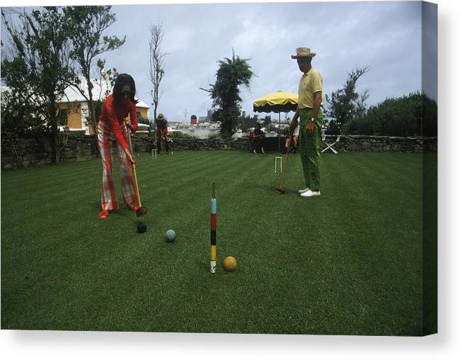 People Canvas Print featuring the photograph Croquet by Slim Aarons