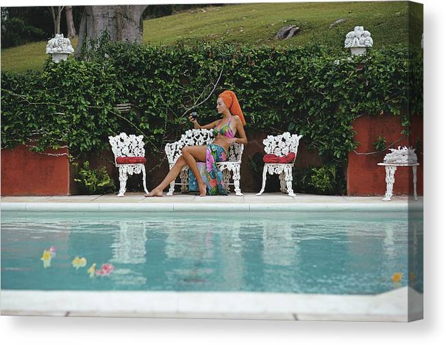 People Canvas Print featuring the photograph Lounging In Bermuda by Slim Aarons