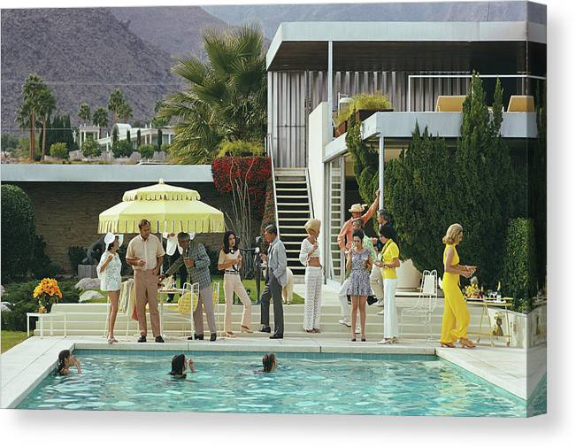 People Canvas Print featuring the photograph Poolside Party by Slim Aarons