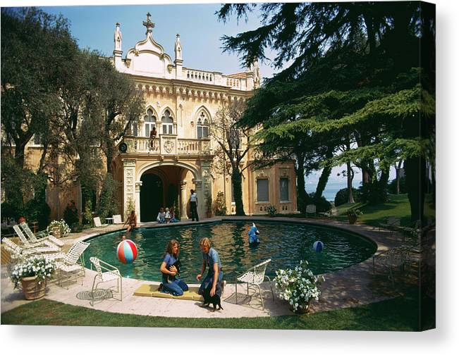 Pets Canvas Print featuring the photograph Chateau St. Jean by Slim Aarons