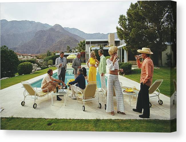 People Canvas Print featuring the photograph Desert House Party by Slim Aarons