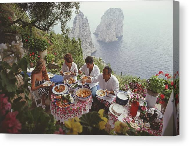 Artist Canvas Print featuring the photograph Dining Al Fresco On Capri by Slim Aarons