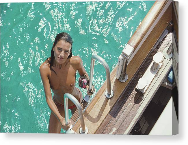 1980-1989 Canvas Print featuring the photograph Eva Maria Lopez by Slim Aarons