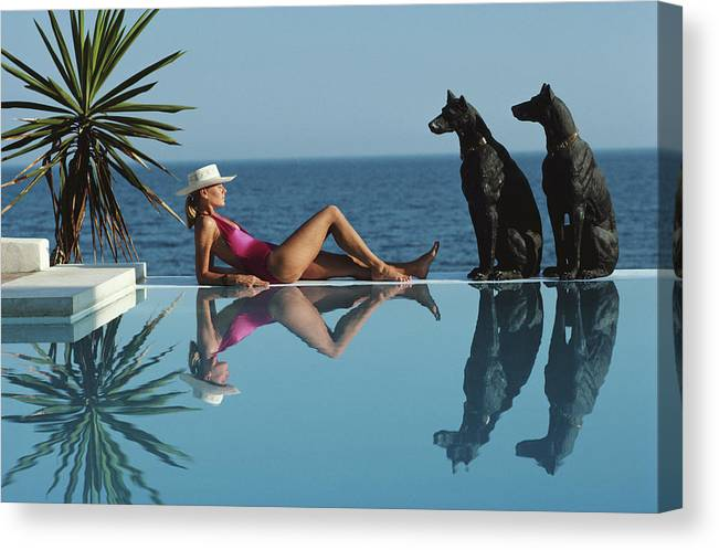 1980-1989 Canvas Print featuring the photograph Pantz Pool by Slim Aarons