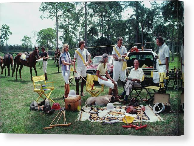 Horse Canvas Print featuring the photograph Polo Party by Slim Aarons