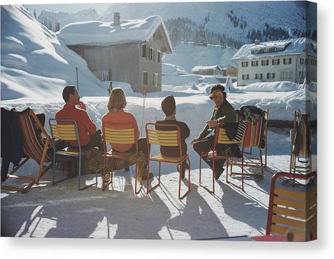 Shadow Canvas Print featuring the photograph Relaxing In Lech by Slim Aarons