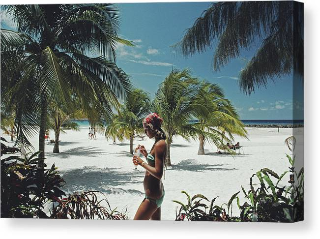 Three Quarter Length Canvas Print featuring the photograph Sarah Marson Williams by Slim Aarons