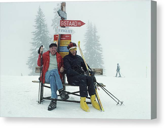 Gstaad Canvas Print featuring the photograph Skiing Holiday by Slim Aarons